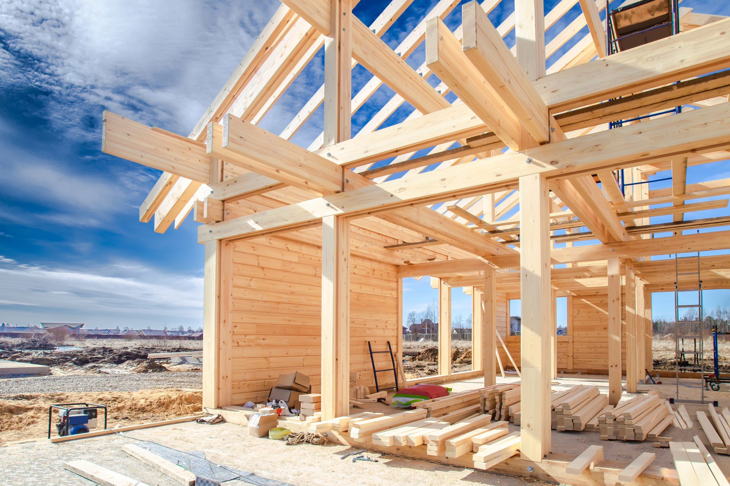 Built a cottage on the site. Construction site. Wooden frame of the home from a bar. The house wooden foundation. Building of houses under the key. Production of wooden houses.
